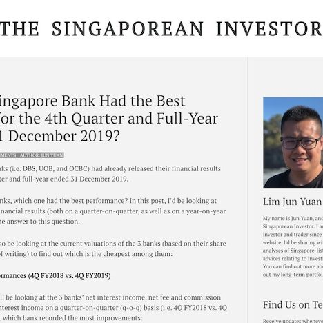 Which Singapore Bank Had the Best Results for the 4th Quarter and Full-Year Ended 31 December 2019?