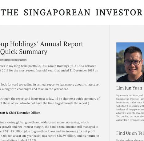 DBS Group Holdings' Annual Report 2019: A Quick Summary