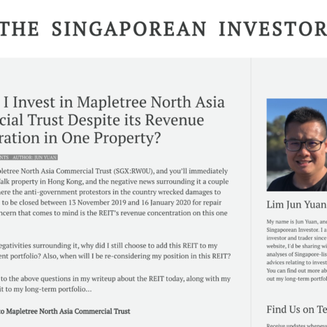 Why Did I Invest in Mapletree North Asia Commercial Trust Despite its Revenue Concentration in One Property?