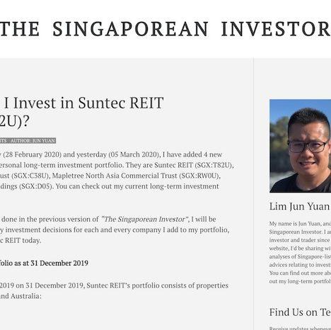 Why Did I Invest in Suntec REIT (SGX:T82U)?