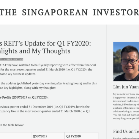 Ascendas REIT's Update for Q1 FY2020: Key Highlights and My Thoughts