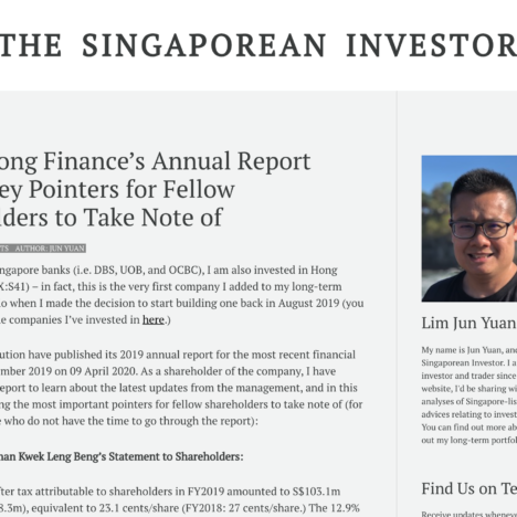Hong Leong Finance's Annual Report 2019 – Key Pointers for Fellow Shareholders to Take Note of