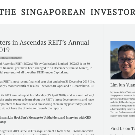 Key Pointers in Ascendas REIT's Annual Report 2019