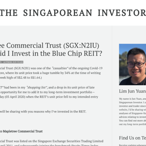 Mapletree Commercial Trust (SGX:N2IU) - Why Did I Invest in the Blue Chip REIT?