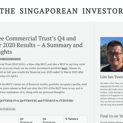 Mapletree Commercial Trust's Q4 and Full-Year 2020 Results - A Summary and My Thoughts