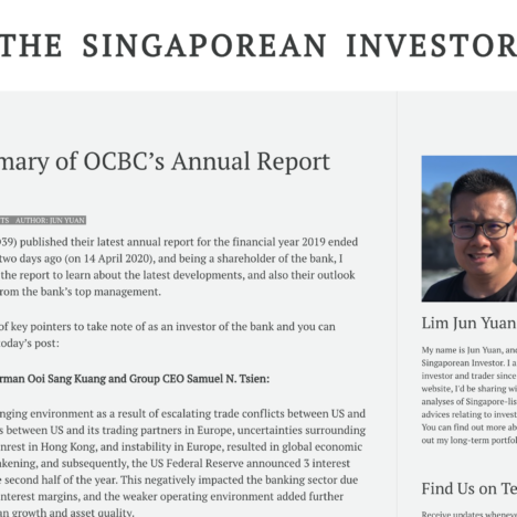 My Summary of OCBC's Annual Report 2019