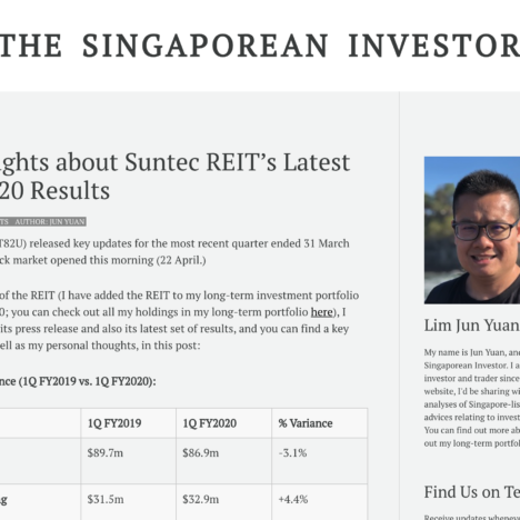 My Thoughts about Suntec REIT's Latest Q1 FY2020 Results