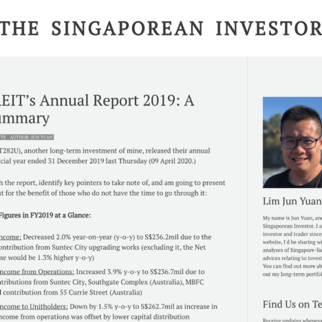 Suntec REIT's Annual Report 2019: A Quick Summary