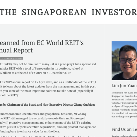What I Learned from EC World REIT's 2019 Annual Report