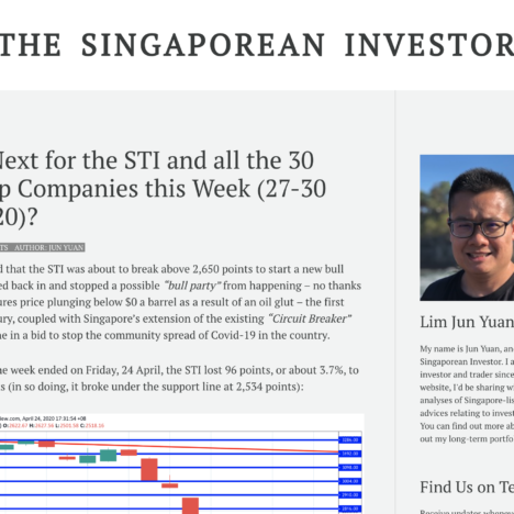 What's Next for the STI and all the 30 Blue Chip Companies this Week (27-30 April 2020)?