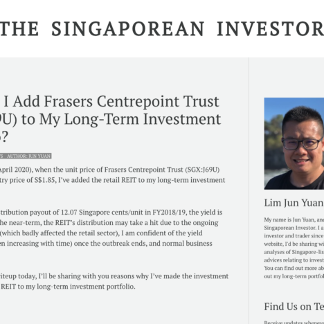 Why Did I Add Frasers Centrepoint Trust (SGX:J69U) to My Long-Term Investment Portfolio?