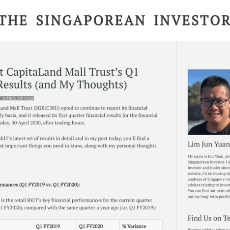 A Look at CapitaLand Mall Trust's Q1 FY2020 Results (and My Thoughts)