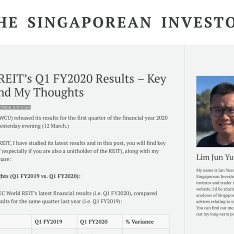 EC World REIT's Q1 FY2020 Results – Key Updates and My Thoughts