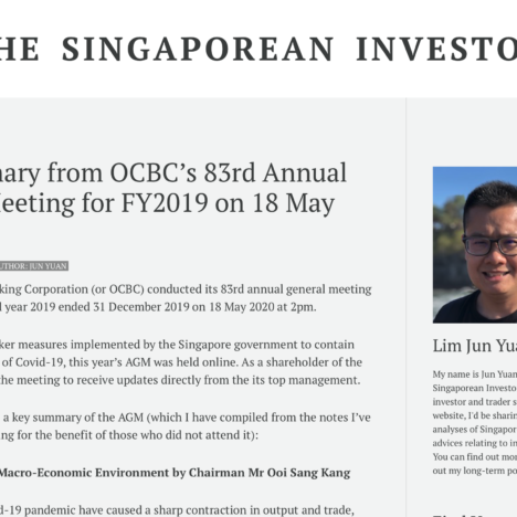 Key Summary from OCBC's 83rd Annual General Meeting for FY2019 on 18 May 2020