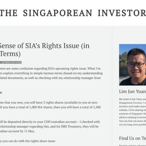 Making Sense of SIA's Rights Issue (in Layman Terms)