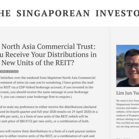 Mapletree North Asia Commercial Trust: Should You Receive Your Distributions in Cash or in New Units of the REIT?