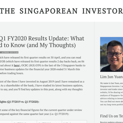 OCBC's Q1 FY2020 Results Update: What You Need to Know (and My Thoughts)