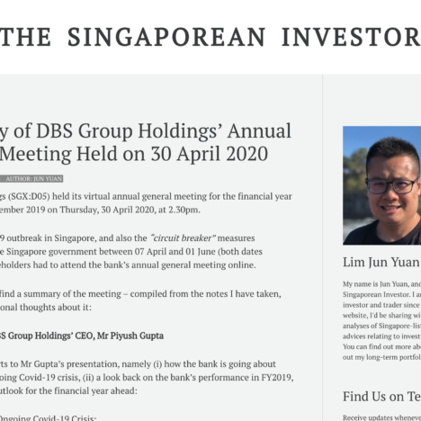Summary of DBS Group Holdings' Annual General Meeting Held on 30 April 2020