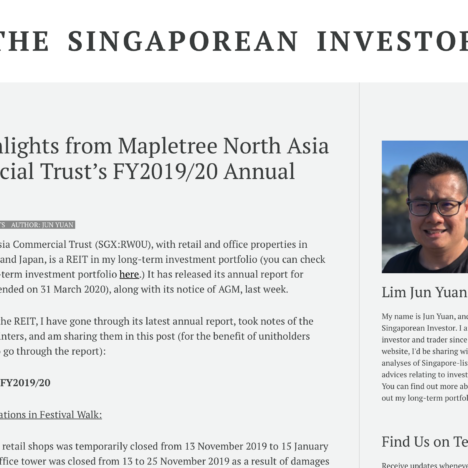 Key Highlights from Mapletree North Asia Commercial Trust's FY2019/20 Annual Report