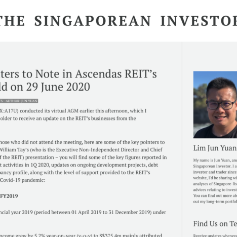Key Pointers to Note in Ascendas REIT's AGM Held on 29 June 2020