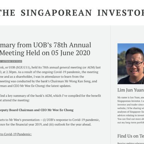 Key Summary from UOB's 78th Annual General Meeting Held on 05 June 2020