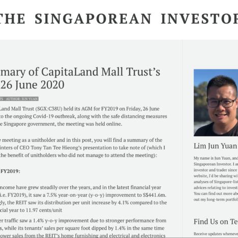 Key Summary of CapitaLand Mall Trust's AGM on 26 June 2020