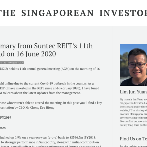 Key Summary from Suntec REIT's 11th AGM Held on 16 June 2020