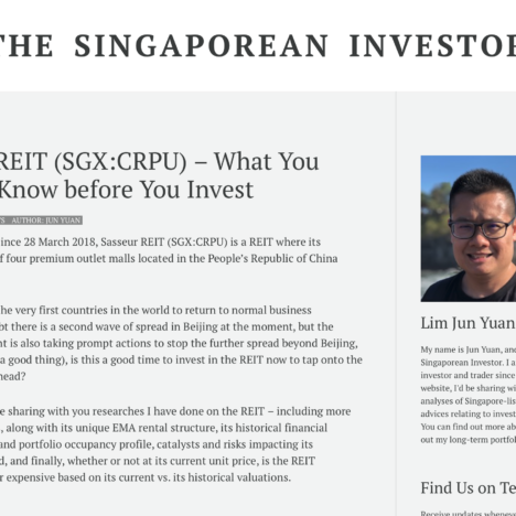 Sasseur REIT (SGX:CRPU) – What You Need to Know before You Invest