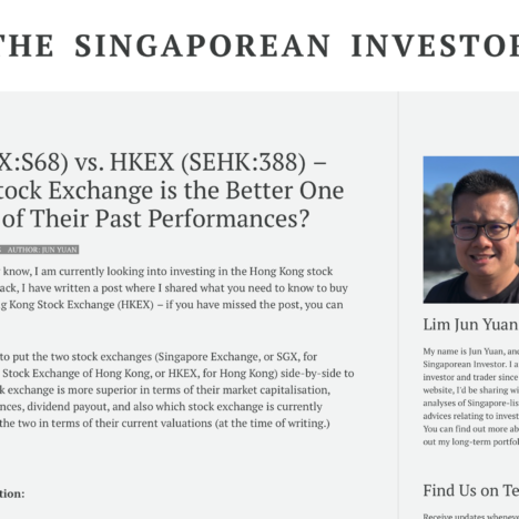 SGX (SGX:S68) vs. HKEX (SEHK:388) – Which Stock Exchange is the Better One in terms of Their Past Performances?