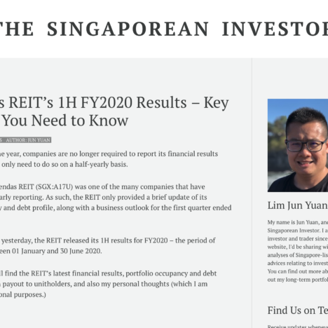 Ascendas REIT's 1H FY2020 Results - Key Pointers You Need to Know