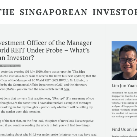 Chief Investment Officer of the Manager of EC World REIT Under Probe - What's Next for Me as an Investor?