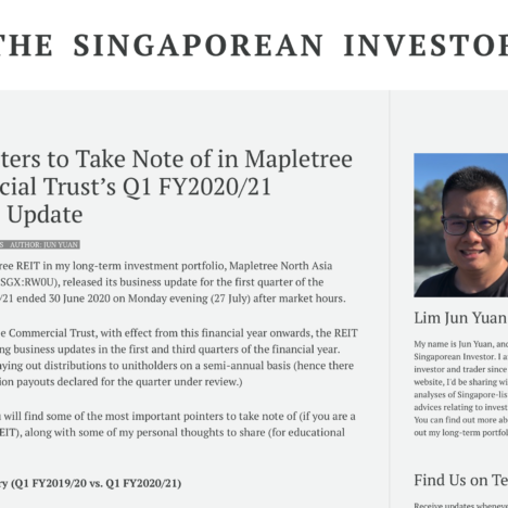 Key Pointers to Take Note of in Mapletree Commercial Trust's Q1 FY2020/21 Business Update