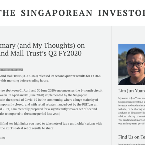 Key Summary (and My Thoughts) on CapitaLand Mall Trust's Q2 FY2020 Results