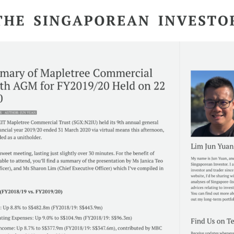 Key Summary of Mapletree Commercial Trust's 9th AGM for FY2019/20 Held on 22 July 2020