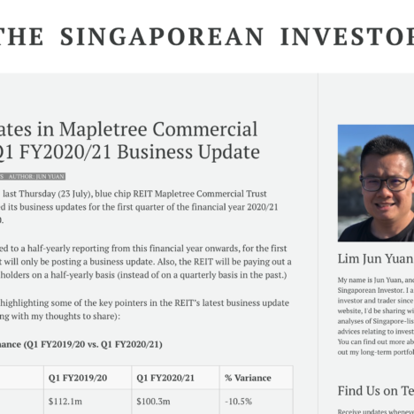 Key Updates in Mapletree Commercial Trust's Q1 FY2020/21 Business Update
