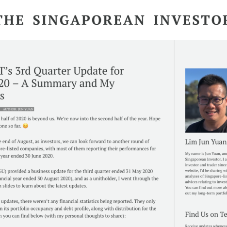 SPH REIT's 3rd Quarter Update for FY2019/20 – A Summary and My Thoughts