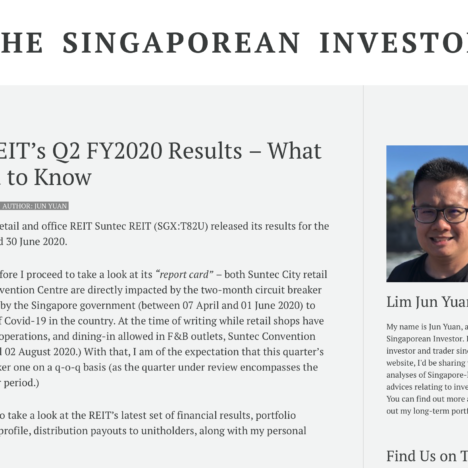 Suntec REIT's Q2 FY2020 Results – What You Need to Know