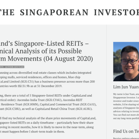 CapitaLand's Singapore-Listed REITs – My Technical Analysis of its Possible Near-Term Movements (04 August 2020)