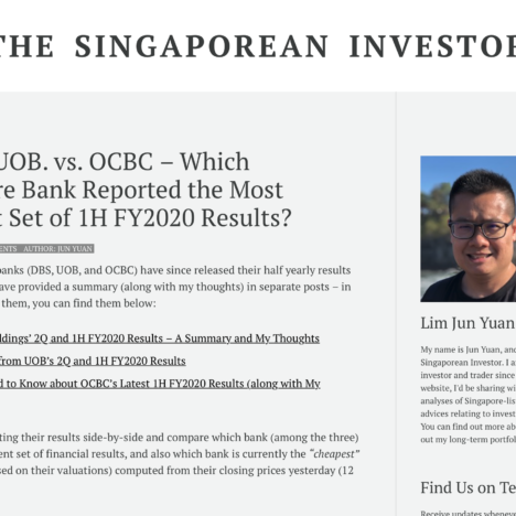 DBS vs. UOB. vs. OCBC – Which Singapore Bank Reported the Most Resilient Set of 1H FY2020 Results?