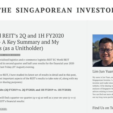 EC World REIT's 2Q and 1H FY2020 Results – A Key Summary and My Thoughts (as a Unitholder)