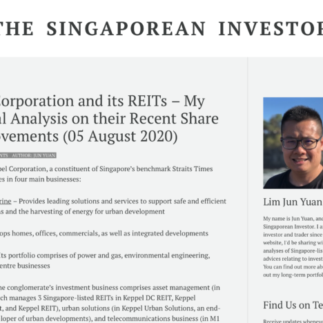 Keppel Corporation and its REITs – My Technical Analysis on their Recent Share Price Movements (05 August 2020)