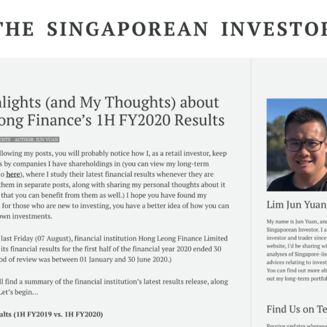 Key Highlights (and My Thoughts) about Hong Leong Finance's 1H FY2020 Results