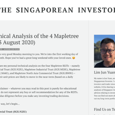 My Technical Analysis of the 4 Mapletree REITs (03 August 2020)