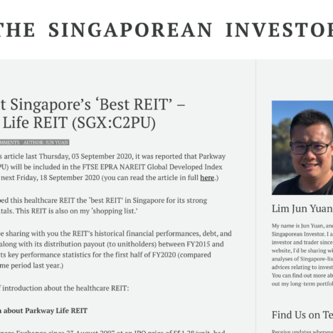 A Look at Singapore's 'Best REIT' – Parkway Life REIT (SGX:C2PU)