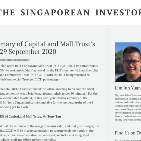 Key Summary of CapitaLand Mall Trust's EGM on 29 September 2020