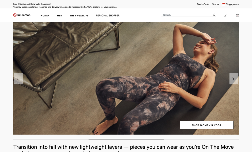 Screenshot of Lululemon's Online Store in Singapore