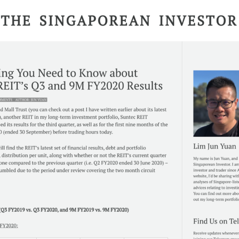 Everything You Need to Know about Suntec REIT's Q3 and 9M FY2020 Results
