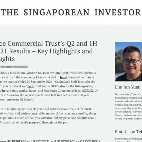 Mapletree Commercial Trust's Q2 and 1H FY2020/21 Results – Key Highlights and My Thoughts