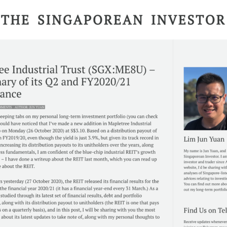 Mapletree Industrial Trust (SGX:ME8U) – A Summary of its Q2 and FY2020/21 Performance