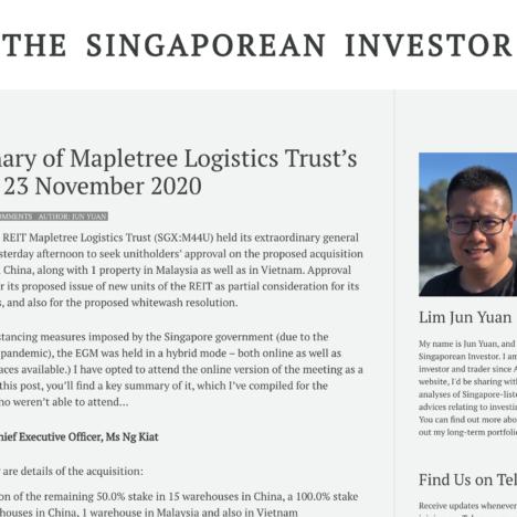 A Summary of Mapletree Logistics Trust's EGM on 23 November 2020
